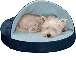 Furhaven Pet Dog Bed | Therapeutic Round Cuddle Nest Snuggery Burrow Blanket Pet Bed w/ Removable Cover for Dogs & Cats - Available in Multiple Colors & Styles
