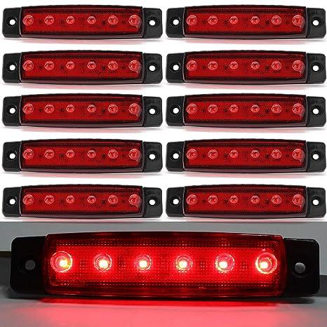 Luces de marcador lateral de LED,Indicadores de posición Rojo 12 / 24V Impermeable Lámparas