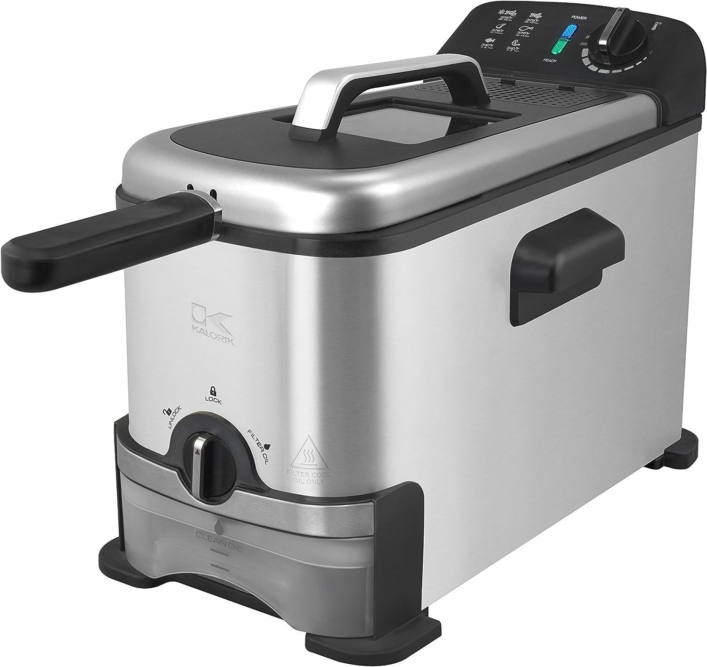 Team Kalorik Freidora eléctrica 3 litros con sistema de filtrado del aceite, 2000 W, Depósito extraíble incluido, Acero inoxidable/Plástico, Plateado, TKG FT 1012 F KTO: Amazon.es: Hogar