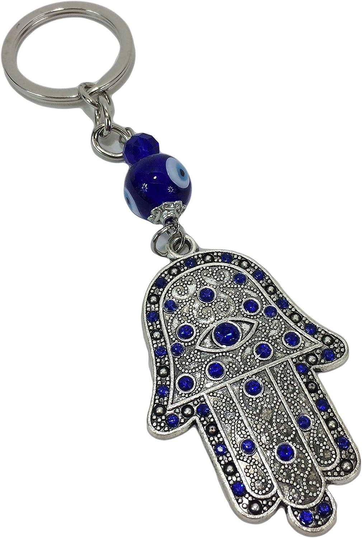Blue Evil Eye Hamsa Hand Palm Pendant Buckle Keyring Keychain Key Chain Ring A