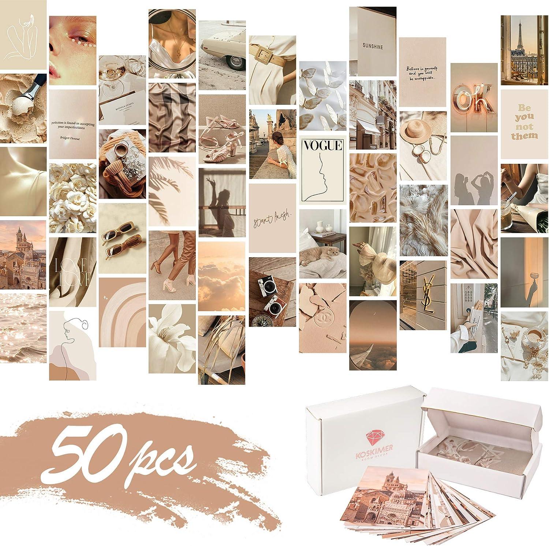 KOSKIMER Beige Aesthetic Photo Collage Kit, 50 Set 4x6 Inch Neutral Wall Collage Kit Aesthetic Pictures, Boho Bedroom Decor for Teen Girls, VSCO Posters for Dorm Room Decor, Cream Collage Print Kit (50 Set)