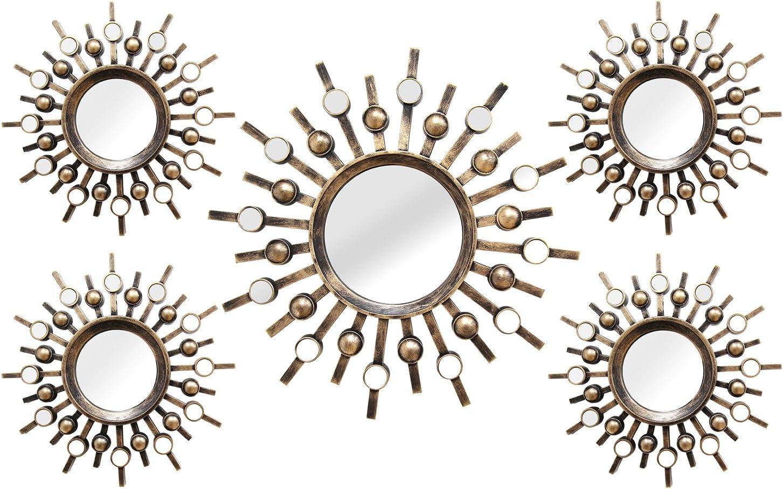 Stratton Home Decor SHD0087 5 Piece Burst Mirrors, 39.00 W X 1.50 D X 21.00 H, Bronze