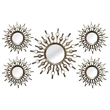 stratton home decor shd0087 5 piece burst mirrors - Amazon Home Decor