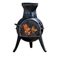 Thompson & Morgan Garden Chimenea Wood Burner Fire Pit with Coal Poker