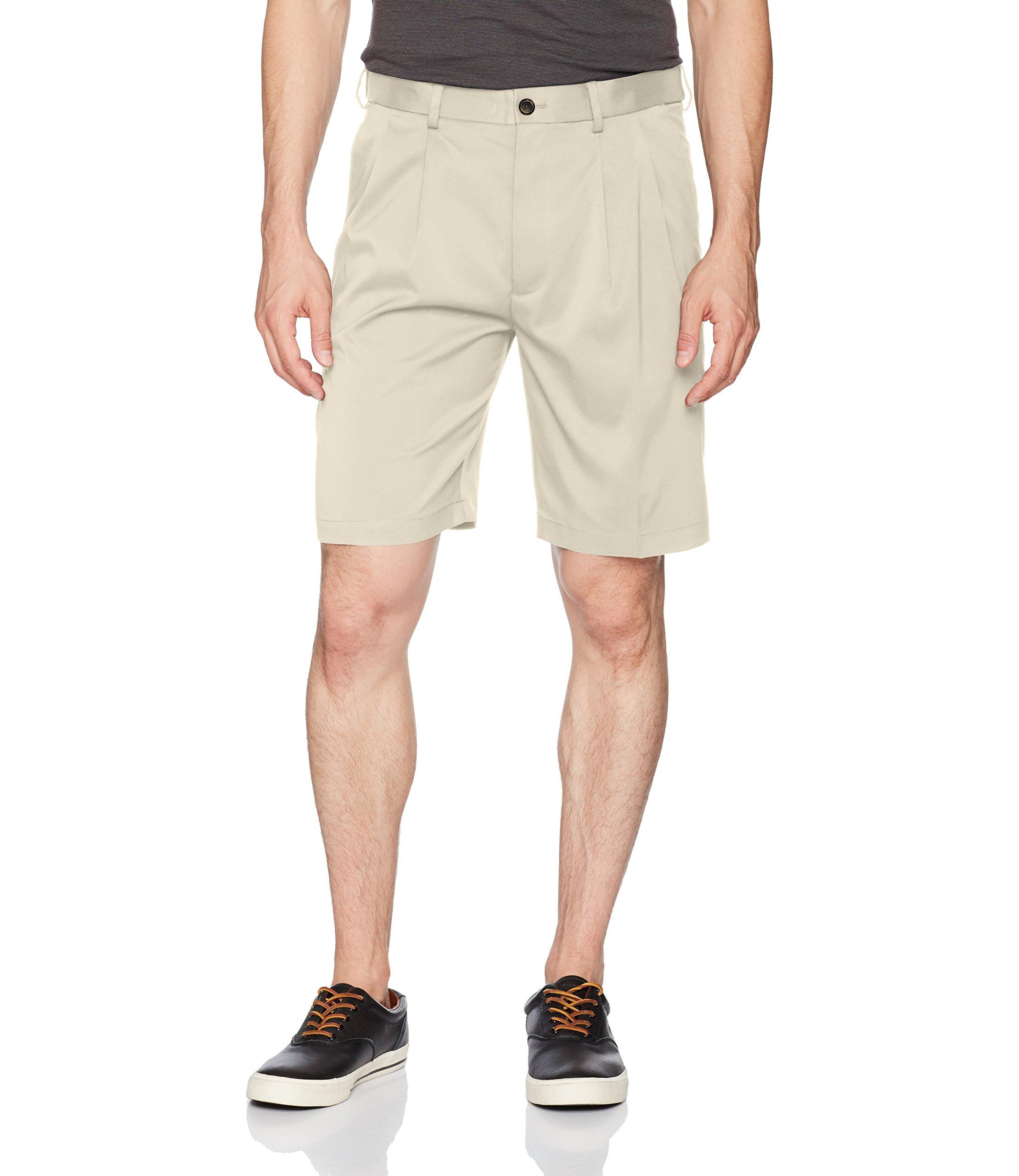 Savane Men's Pleated Mirco Fiber Short, Overcast, 38 by Savane