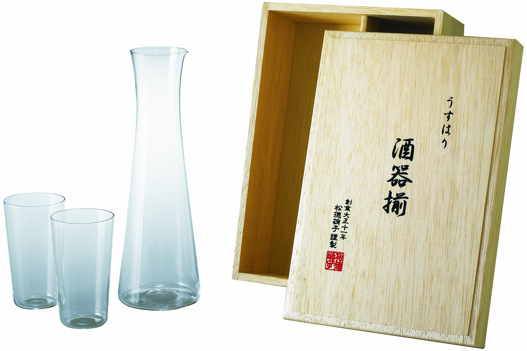 Sake aligned wooden box swell mortar (japan import) by Shotoku Glass (Image #1)