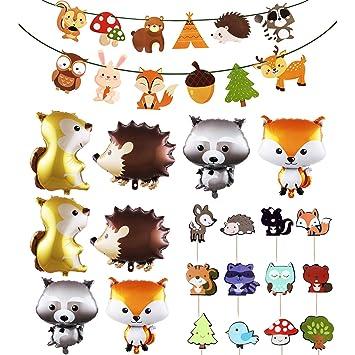 WENTS Decoraciones de Fiesta cumpleaños Animales Woondland ...