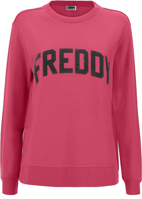 Freddy Sweatshirt, komfortabel, Viskose, mit Beflockung, Schwarz Rot