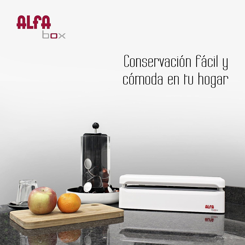Alfa - Maquina De Envasado Al Vacio Box 7983, 31 Cm. 120W, 0,72 Bar, La Propia Tapa Acciona El Sist. Vacio Y Sellado, Set De 8 Bolsas. Blanco