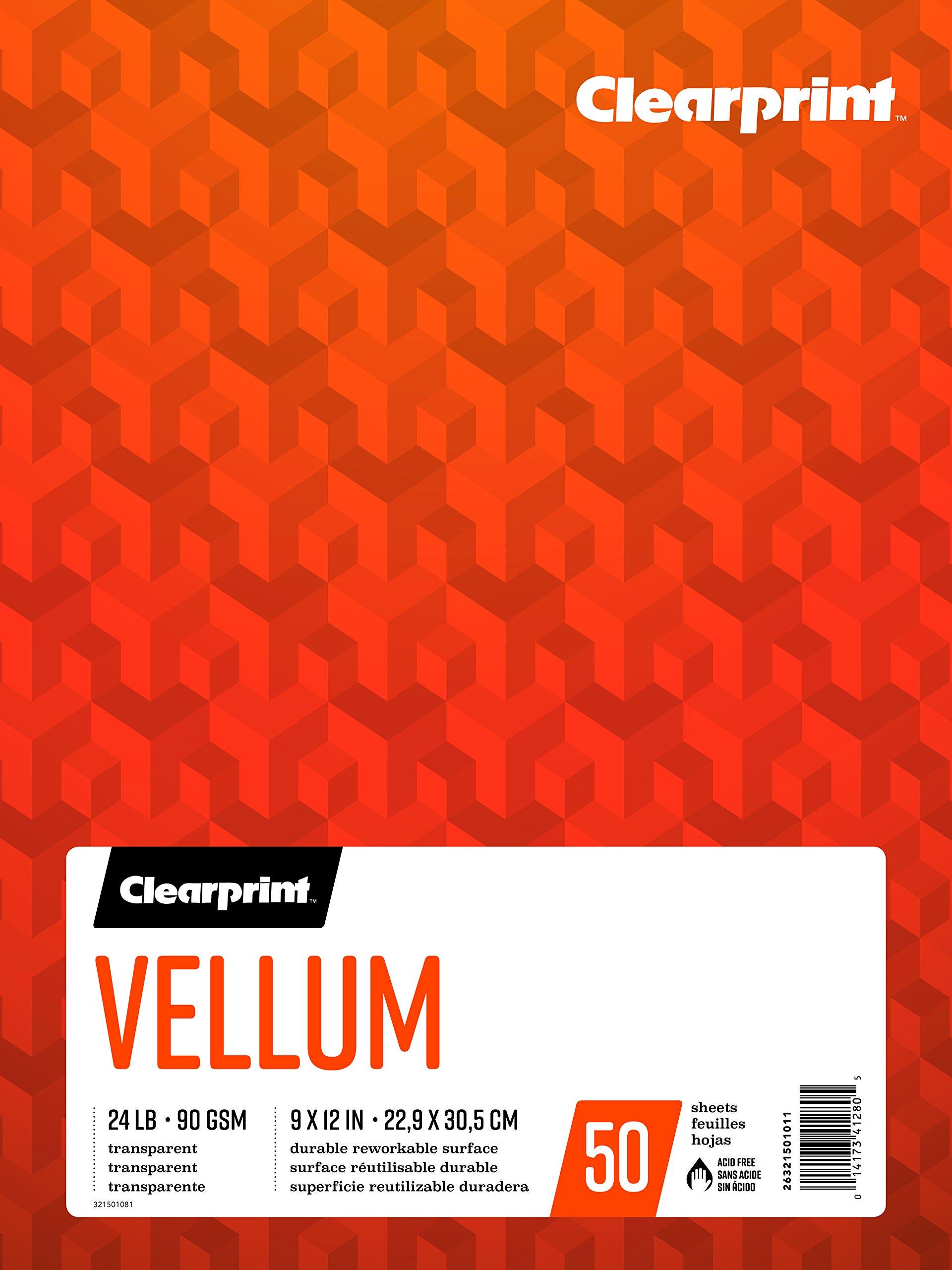 Clearprint Vellum Pad, 24 LB, 90 GSM, 9 x 12 Inches, 50 Sheets Per Pad, 1 Each (26321501011)
