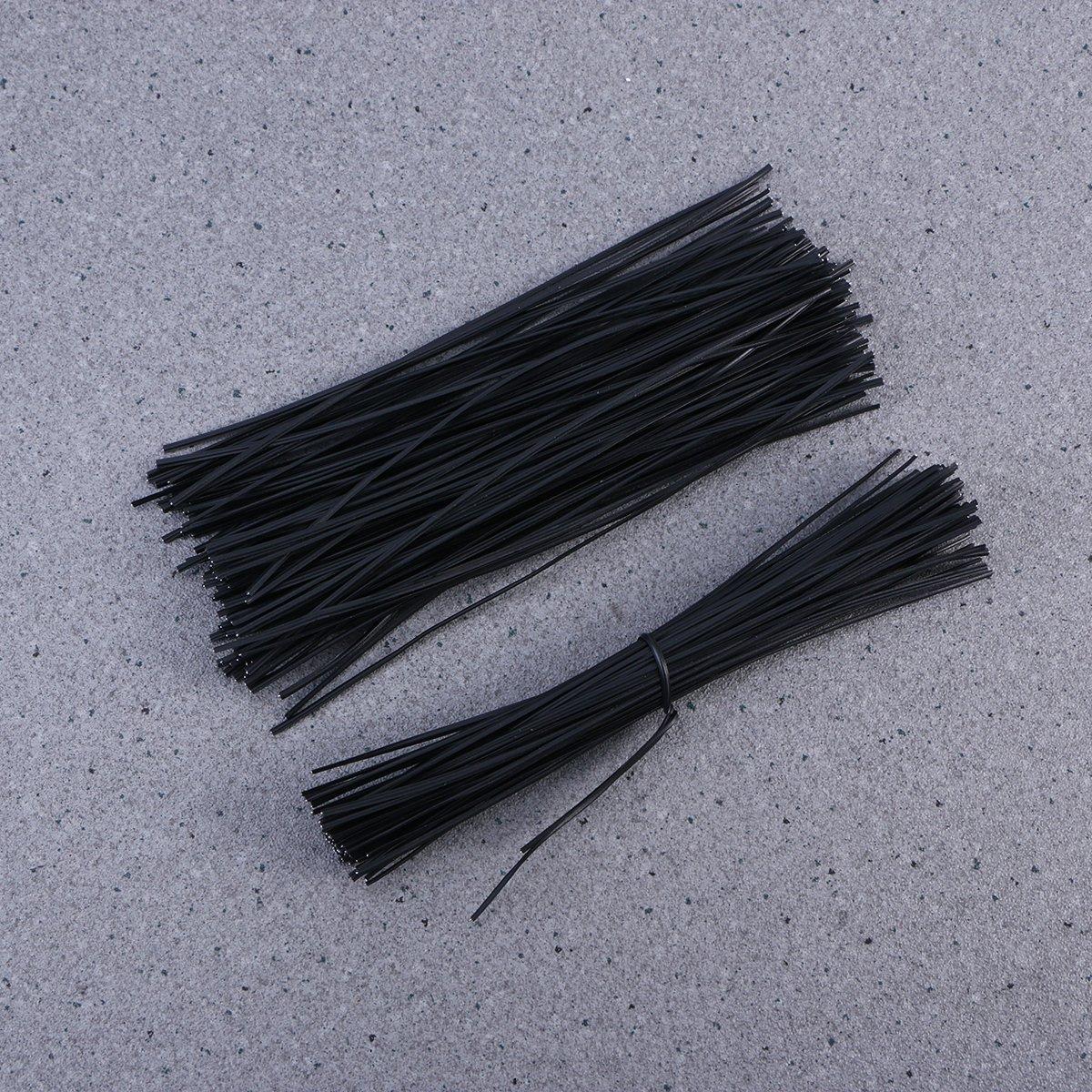 negro OUNONA Lazo de alambre de hierro recubierto de pl/ástico ataduras Organizador del abrigo del cable ata 15cm 500pcs