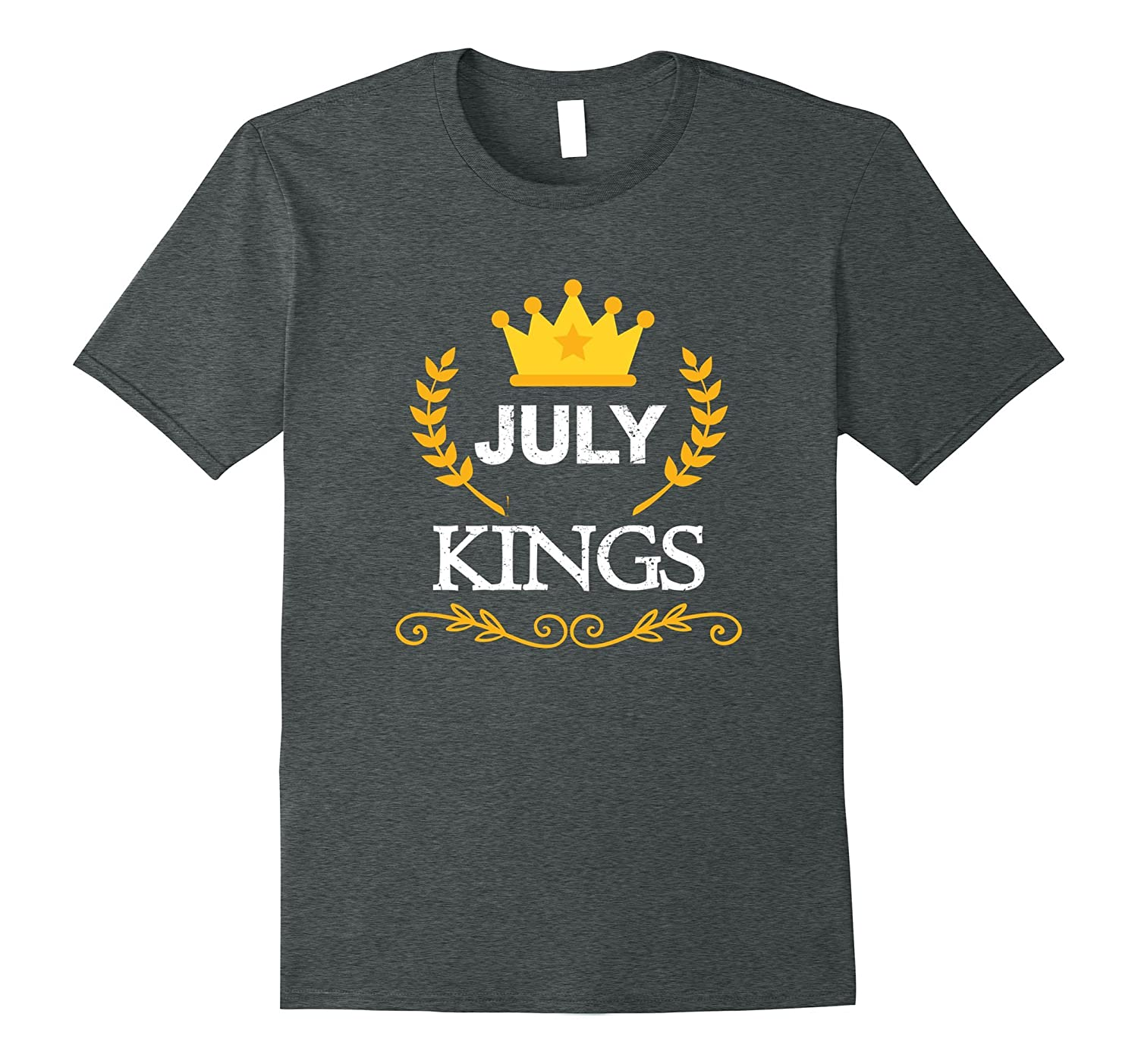 Kings Are Born In July T-shirt Birthday Gifts Men Boys Tee