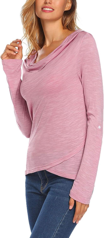 Meaneor Damen Langarmshirt Damen T Shirt Damen Langarm T-Shirt Rundhals Falten T-Shirt Casual Stretch Tunika Top Shirts F/ür Herbst /& Fr/ühling