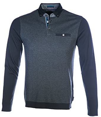 d2619b3f514b54 Ted Baker Men Long Sleeve Polo Shirt TA7M GB43 WOOLPAK Size 6 Black   Amazon.co.uk  Clothing