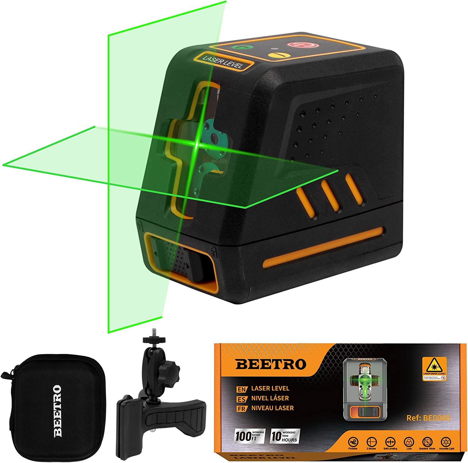 Beetro Laser Level 100ft Green Cross Line Self Leveling for Construction, Picture Hanging, Home Renovation, with Horizontal and Vertical Line, 4 AA Batteries BE0080