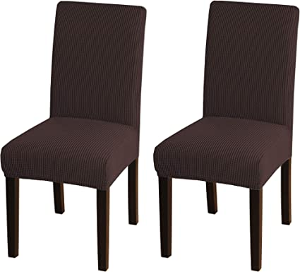Bellahills Stretch Dining Chair Covers Chair Covers For Dining Room Set Of 2 Parson Chair Covers Slipcovers Chair Protectors Covers Dining Textured Checked Jacquard Fabric 2 Brown Amazon Co Uk Kitchen Home
