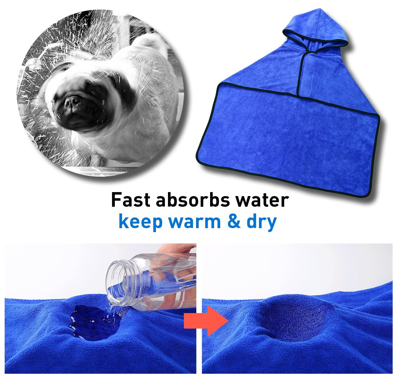 GiBot Toallas para Perro, Secado rápido de microfibra y Hidrófugo Toalla seca para baño Toalla Absorbente Súper Suave para Perros y Gatos, Medianos, 46.5cm, ...