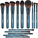 BS-MALL Makeup Brushes Premium 14 Pcs Synthetic Foundation Powder Concealers Eye Shadows Silver Black Makeup Brush Sets(Silver Black) Blue