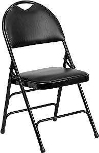 Flash Furniture HERCULES Series Ultra-Premium Triple Braced Black Vinyl Metal Folding Chair with Easy-Carry Handle