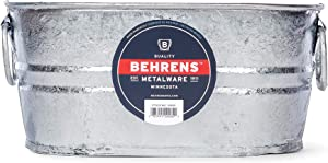 Behrens Manufacturing 0000-OV Oval Steel Tub, 1 gal, Classic zinc Finish