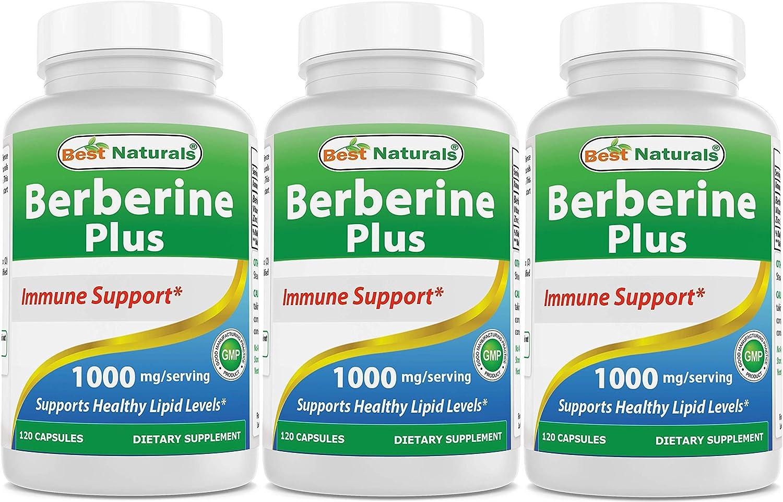 Best Naturals Berberine Plus 1000 mg Serving 120 Capsules – Berberine for Healthy Blood Sugar 3 Pack
