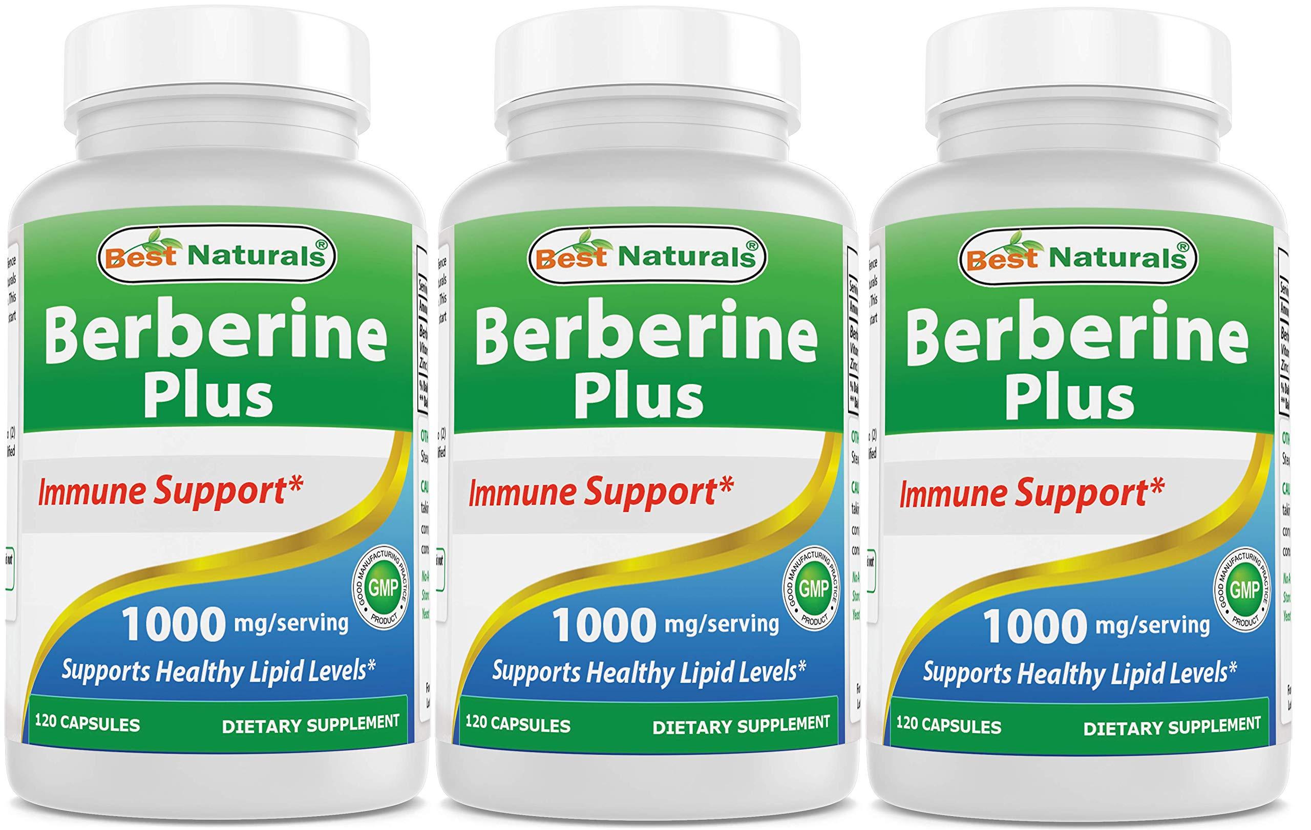 Best Naturals Berberine Plus 1000 mg/Serving 120 Capsules - Berberine for Healthy Blood Sugar (3 Pack)
