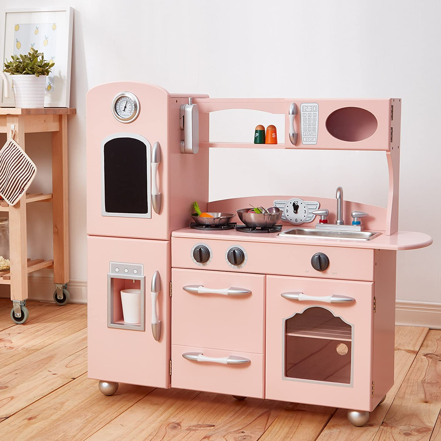 Teamson Kids - Retro Wooden Play Kitchen with Refrigerator, Freezer, Oven and Dishwasher - Pink (1 Pieces)