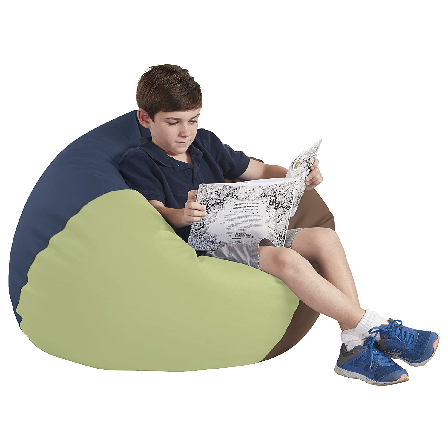 "FDP SoftScape Classic 35"" Junior Bean Bag Chair, Furniture for Kids, Perfect for Reading, Playing Video Games or Relaxing, Alternative Seating for Classrooms, Daycares, Libraries or Home - Earthtone"