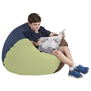 """FDP SoftScape Classic 35"""" Junior Bean Bag Chair, Furniture for Kids, Perfect for Reading, Playing Video Games or Relaxing, Alternative Seating for Classrooms, Daycares, Libraries or Home - Earthtone"""