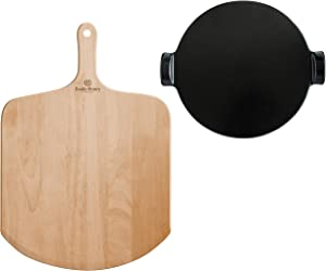 Emile Henry, Charcoal Wood Peel and 14.5 inch Round Pizza Stone Set