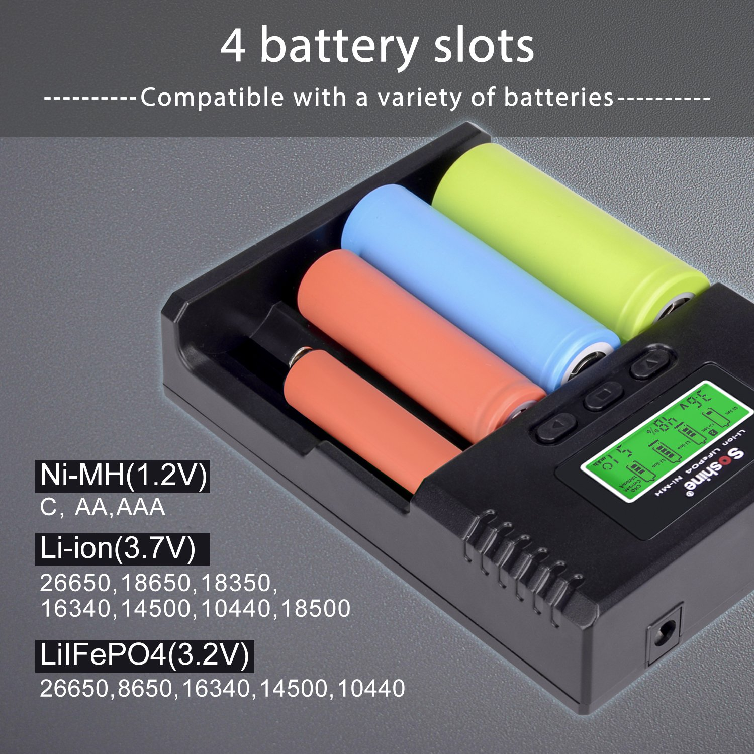 f73cd80dd77531 Battery Charger, 18650 battery charger with LCD display: Amazon.co.uk:  Electronics