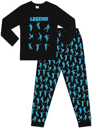 The Pyjama Factory - Pijama largo de algodón con texto «Legend» y estampado de bailes de celebración de videojuegos, color negro y azul