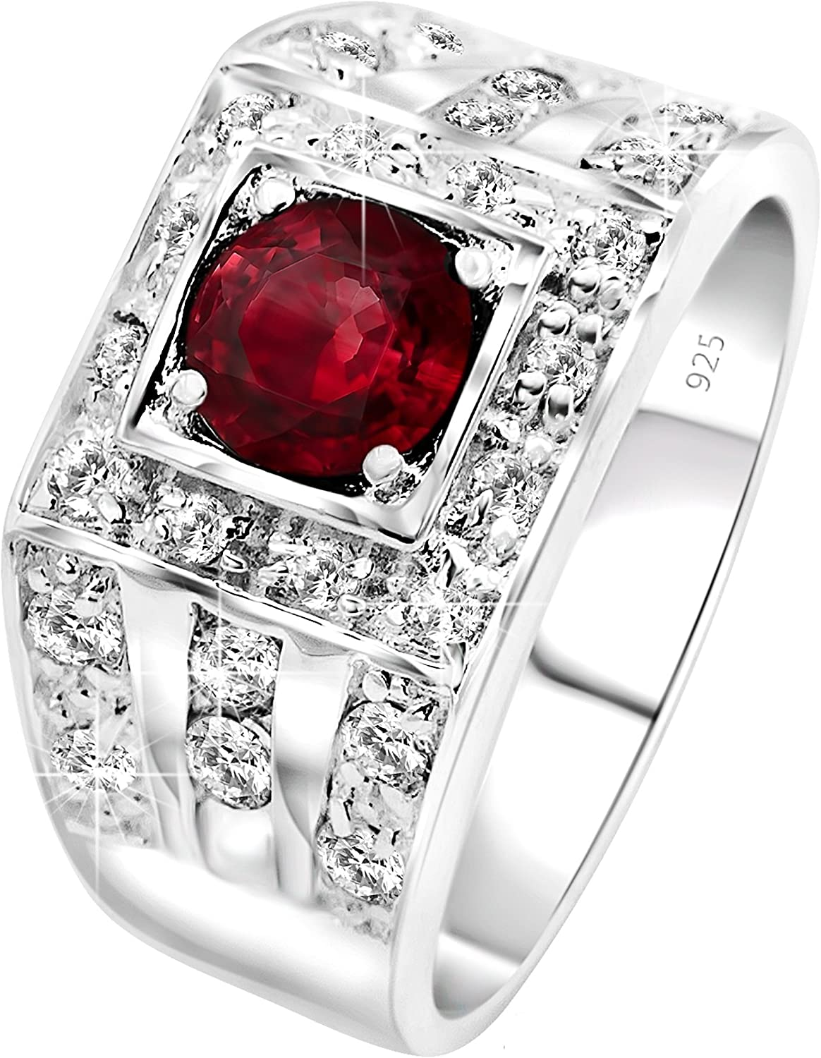 [2-5 Days Delivery] Men's Elegant Sterling Silver .925 High Polish Ring Featuring a Synthetic Red Ruby Center Stone Surrounded by 26 Fancy Round Prong-Set Cubic Zirconia (CZ) Stones. With Presentation Box.