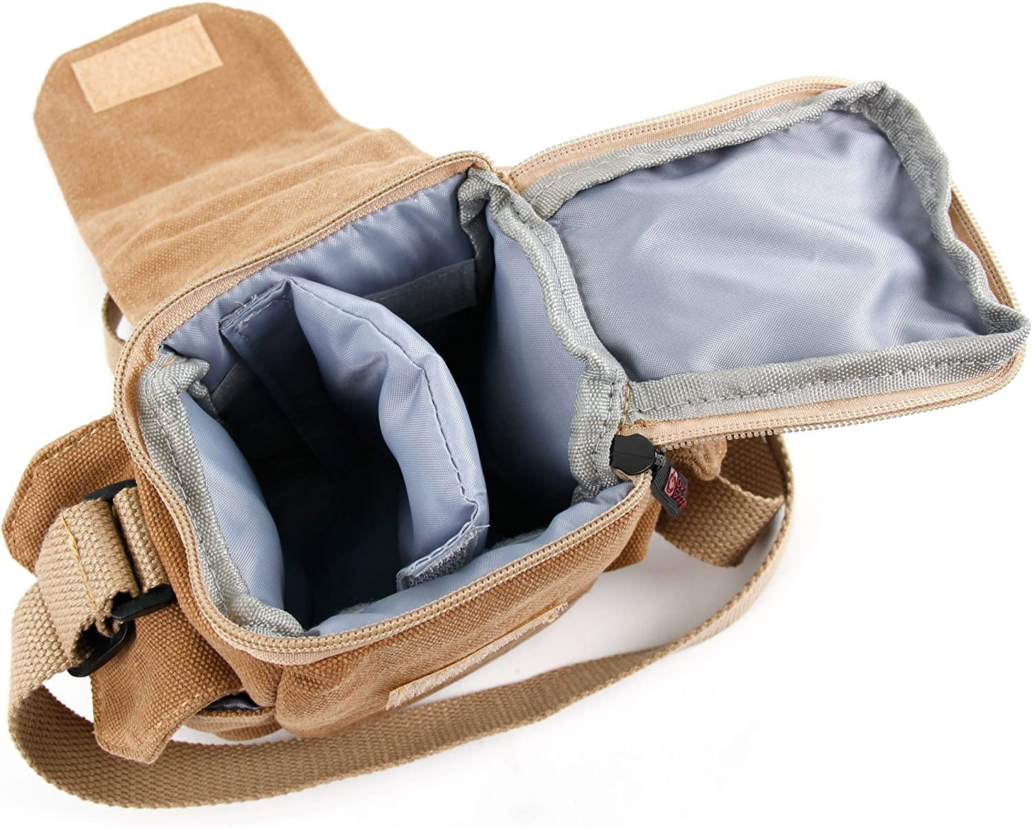 DURAGADGET Light Brown Small Sized Canvas Carry Bag w//Multiple Pockets H111C Nano Compatible with The Hubsan Q4 H111 Nano H111D FPV Nano Drones