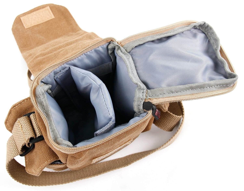 con Bandolera Ajustable Y Numerosos Compartimentos DURAGADGET Bolso Canvas Marr/ón para C/ámaras DSLR//SLR//Bridge//CSC