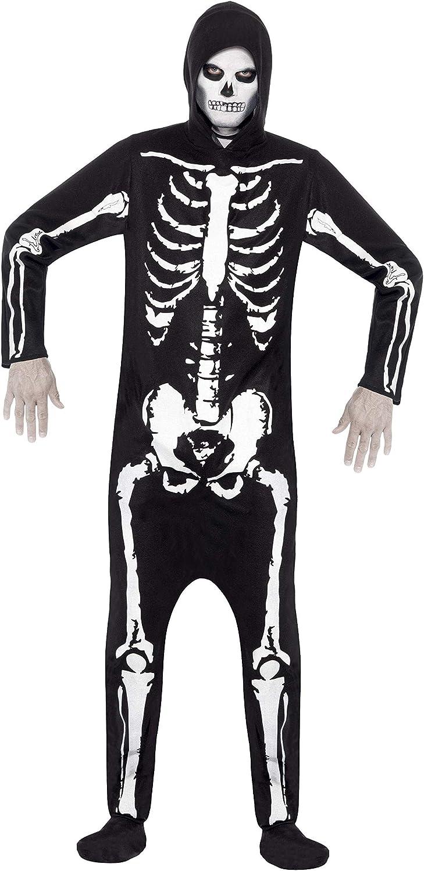 Kostuum skelet zwart met capuchon