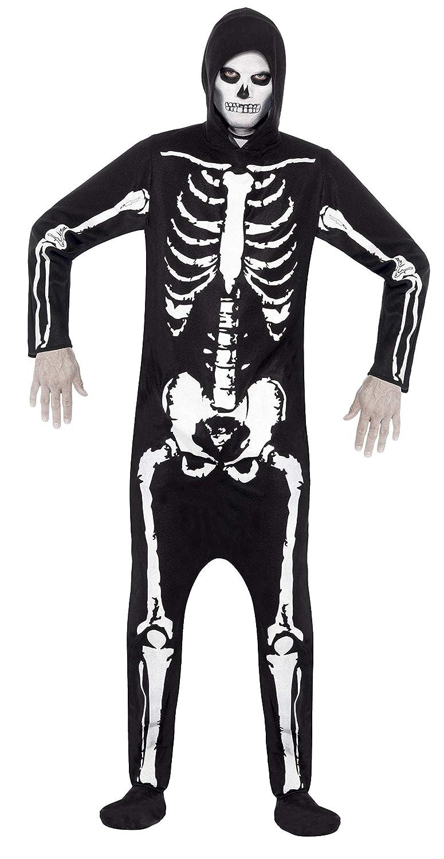 """Men Black Leg Inseam 33/"""" Chest 42/""""-44/"""" Smiffys Skeleton Costume"""