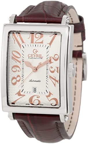 Gevril Avenue of America Men's Automatic Watch with Silver Dial Analogue Display and Brown Leather Strap 5005A
