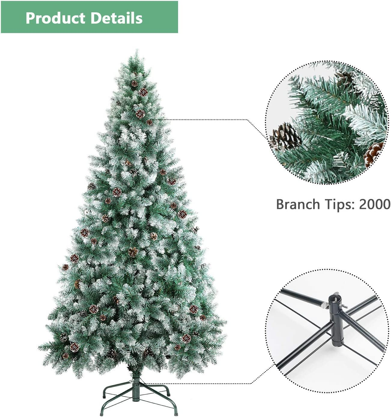 SHareconn 7 ft Unlit Artificial Hinged Christmas Tree with Pine Cones 1950 Branch Snow Tips and Metal Stand