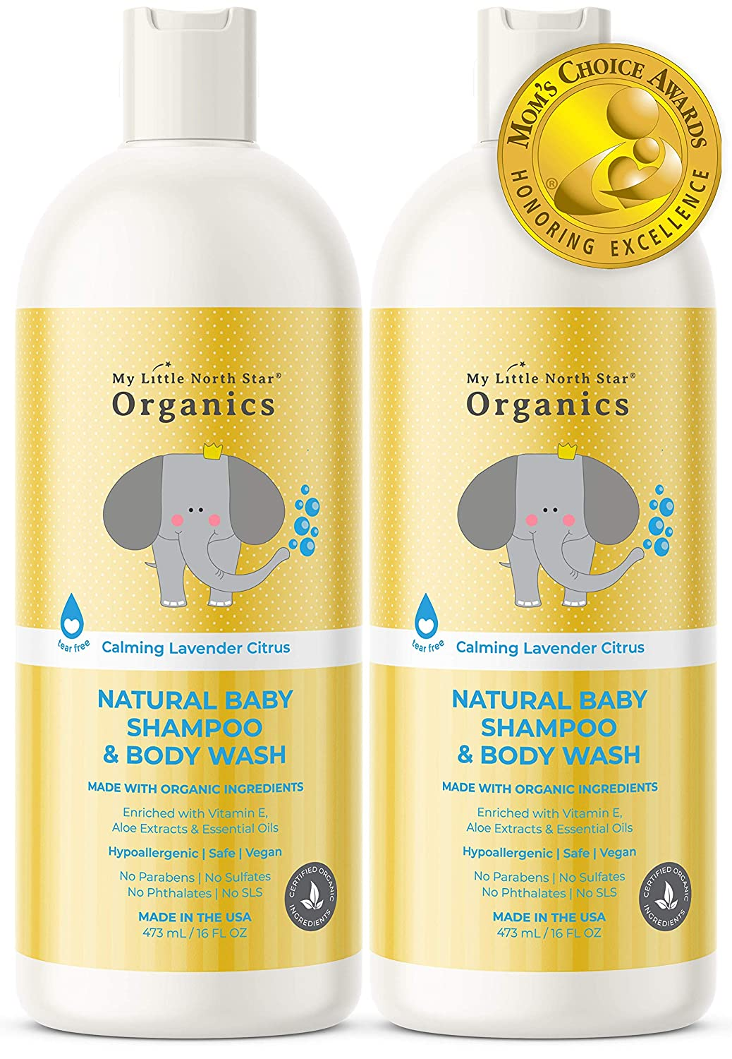 Organic Baby Shampoo & Body Wash – Tear-Free Shampoo for Toddlers & Kids – Chemical-Free Natural Soap – Made in the USA - Calming Lavender & Citrus Essential Oils 2-pack 16 oz 2 in 1