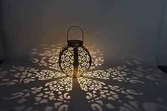 Hexagon LED Solar Lantern Light Outdoor Pathway Hanging Lamp for Patio Courtyard Garden(Warm White)