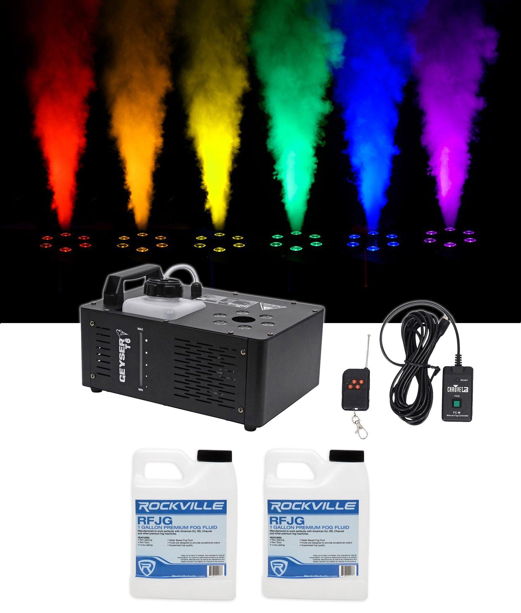 Chauvet DJ Geyser T6 Fog Machine Fogger, RGB Pyrotechnic Light FX+Remote+Fluid