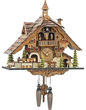 ISDD Cuckoo Clocks Cuarzo reloj de cuco selva negra casa con tren en movimiento, con
