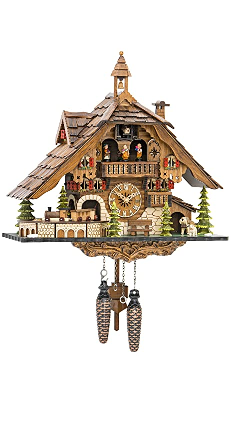 delightful Quartz Cuckoo Clock Part - 12: Quartz Cuckoo Clock Black Forest House with Moving Train, with Music EN  48110 QMT
