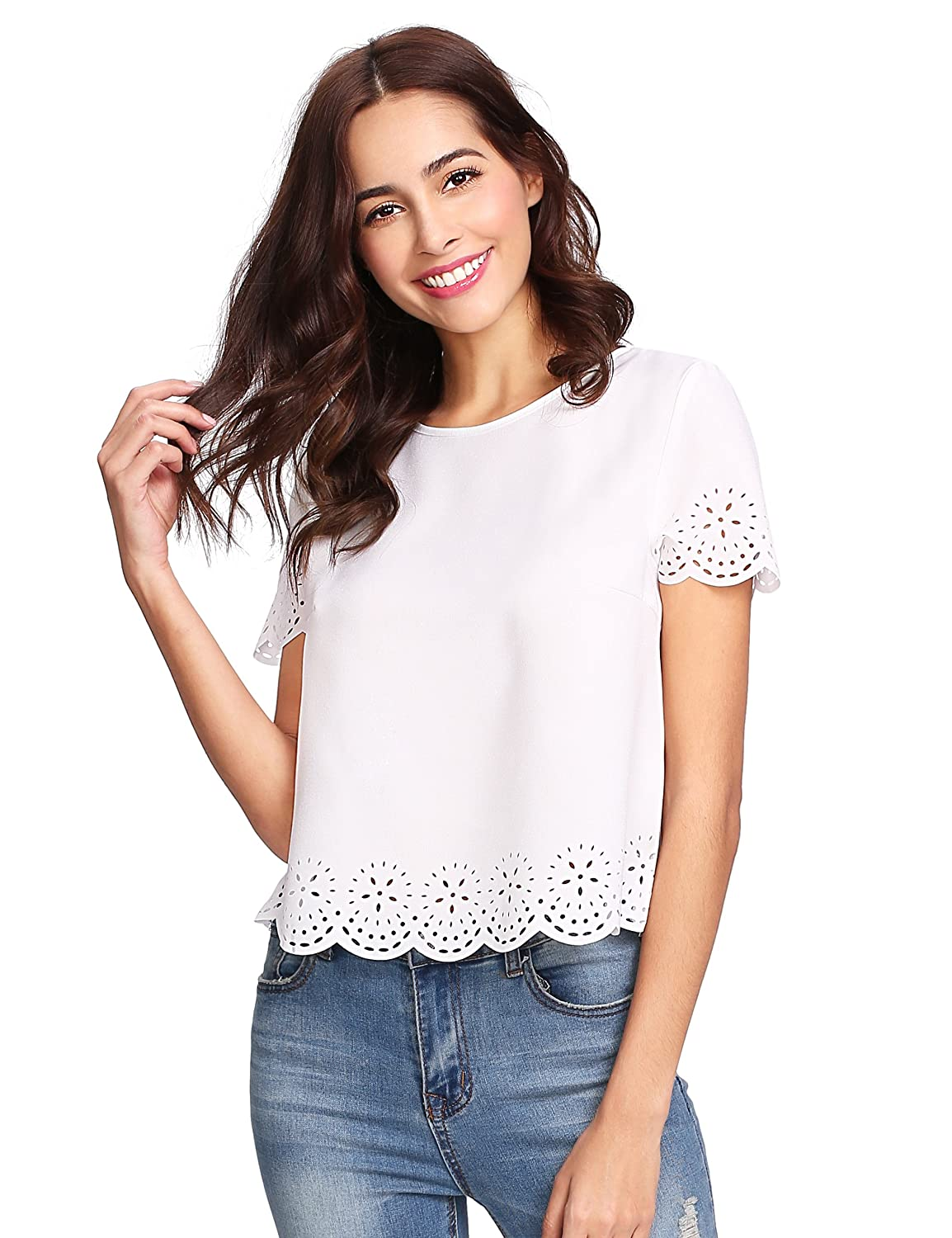 c3bd8f71bc SheIn Women's Casual Round Neck Summer Short Sleeve Scallop T-Shirt Top  Blouse at Amazon Women's Clothing store: