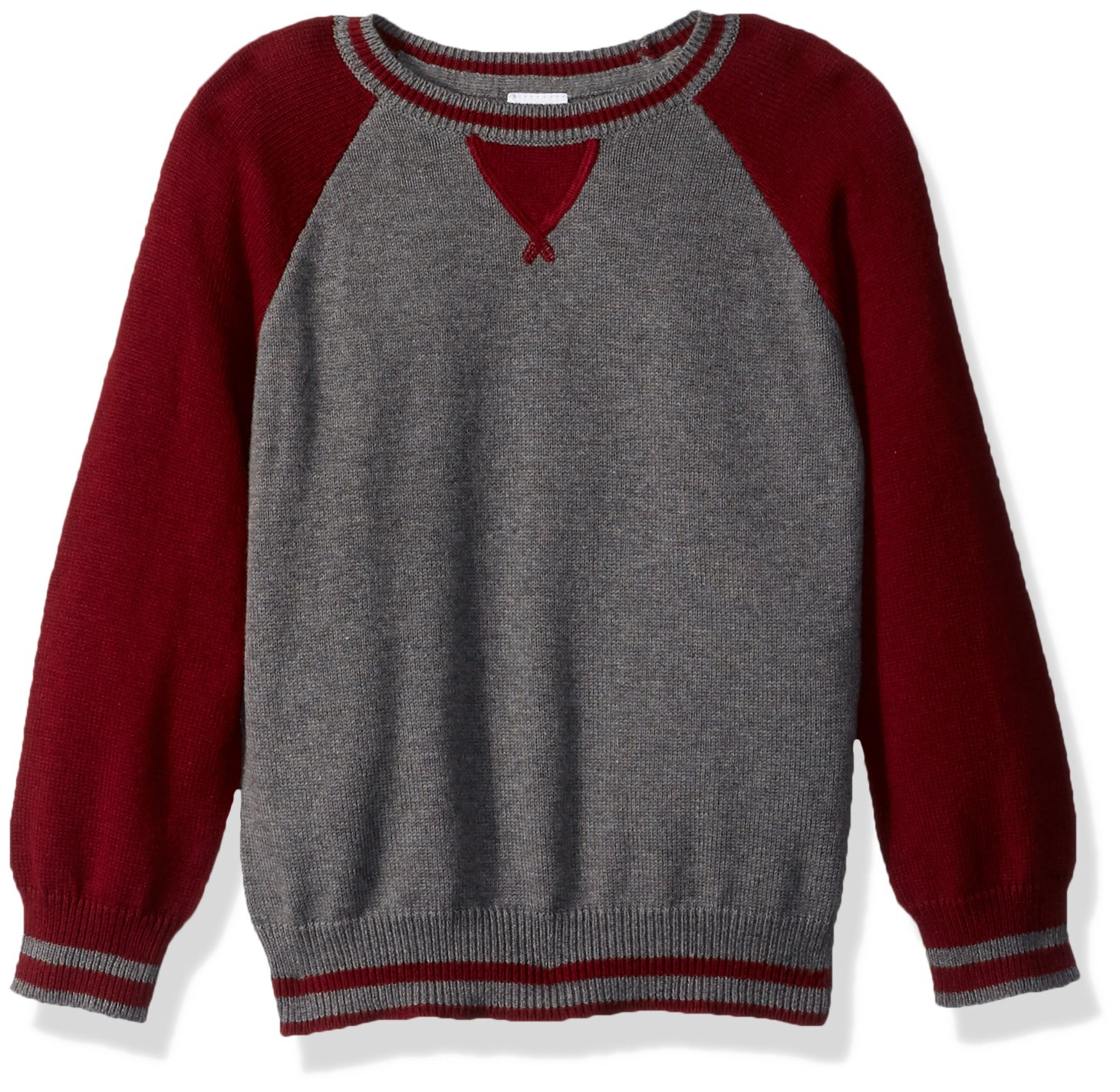 Gymboree Little Boys' Blocked Raglan Sweater, Moto Maroon, M