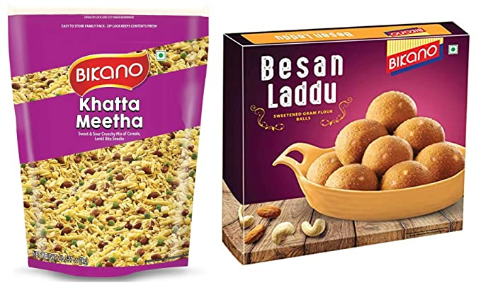 Bikano Khatta Meetha, 1kg and Besan Laddu Special, 400g