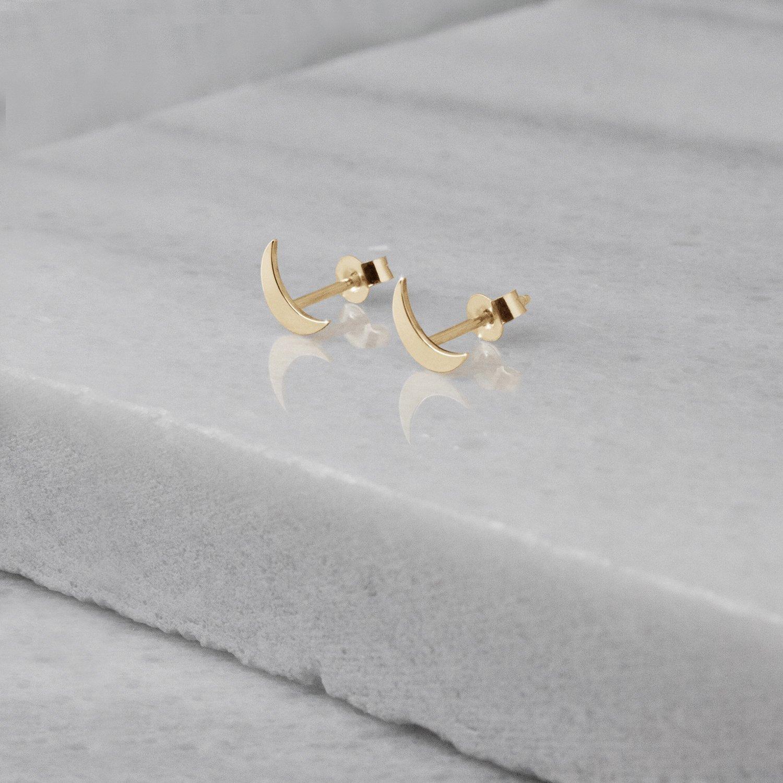 Tiny Moon Earrings, 9K, 14K, 18K Gold Earrings, Yellow Gold Studs, Gold Crescent Moon Earrings, Gift For Her /code: etg24: 0.001