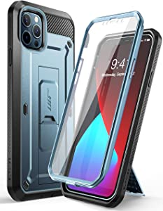 SupCase Unicorn Beetle Pro Series Case for iPhone 12 Pro Max (2020 Release) 6.7 Inch, Built-in Screen Protector Full-Body Rugged Holster Case(Cerulean)