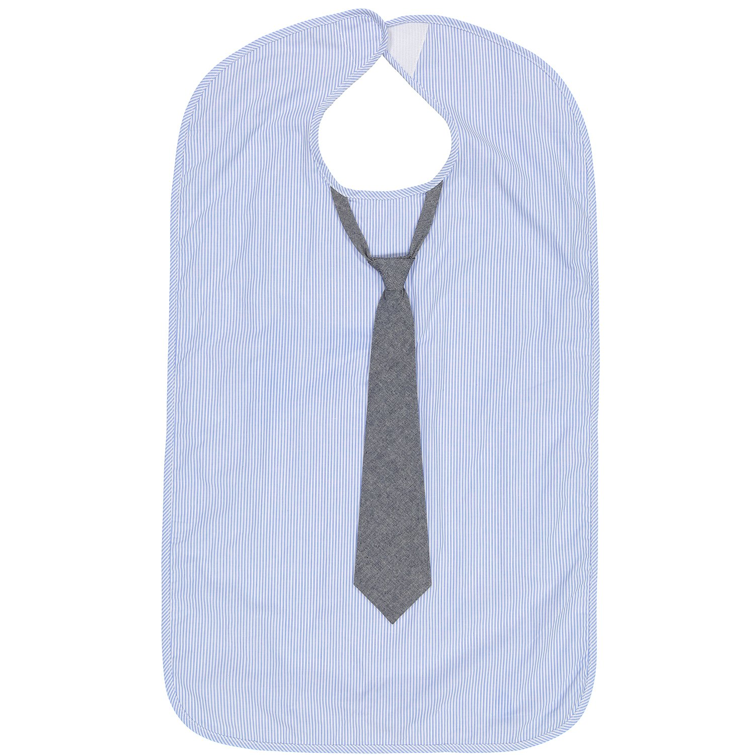 Frenchie Mini Couture Mens Waterproof Adult Bib Grey Tuxedo with 3D Bowtie